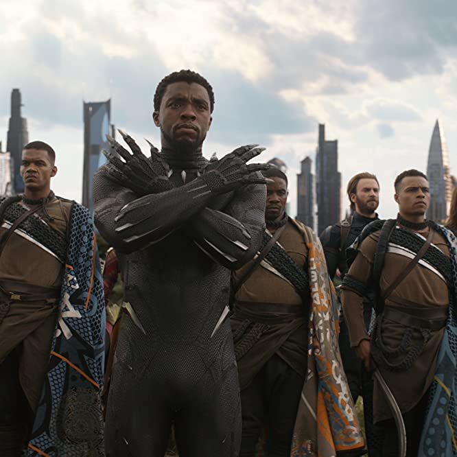 Chris Evans, Chadwick Boseman, Sebastian Stan, and Winston Duke in Avengers: Infinity War (2018)