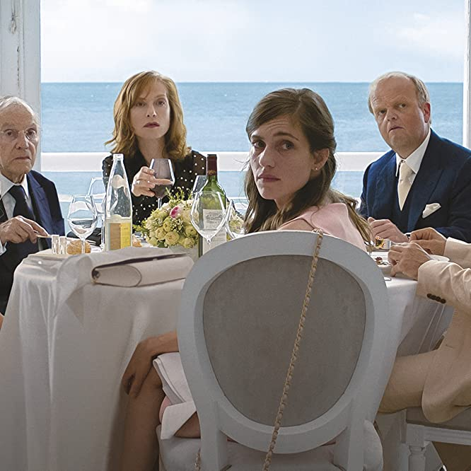 Isabelle Huppert, Jean-Louis Trintignant, Toby Jones, Mathieu Kassovitz, Laura Verlinden, and Fantine Harduin in Happy End (2017)