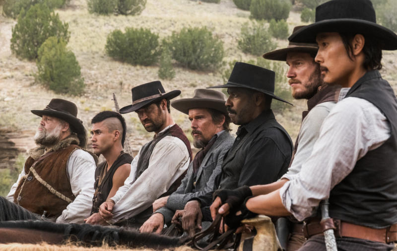 Ethan Hawke, Denzel Washington, Vincent D'Onofrio, Byung-Hun Lee, Chris Pratt, Manuel Garcia-Rulfo, and Martin Sensmeier in The Magnificent Seven (2016)