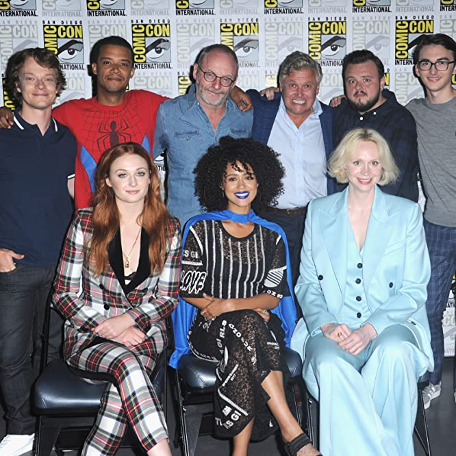 Liam Cunningham, Conleth Hill, Alfie Allen, Jacob Anderson, Nathalie Emmanuel, Isaac Hempstead Wright, Gwendoline Christie, Sophie Turner, and John Bradley at an event for Game of Thrones (2011)