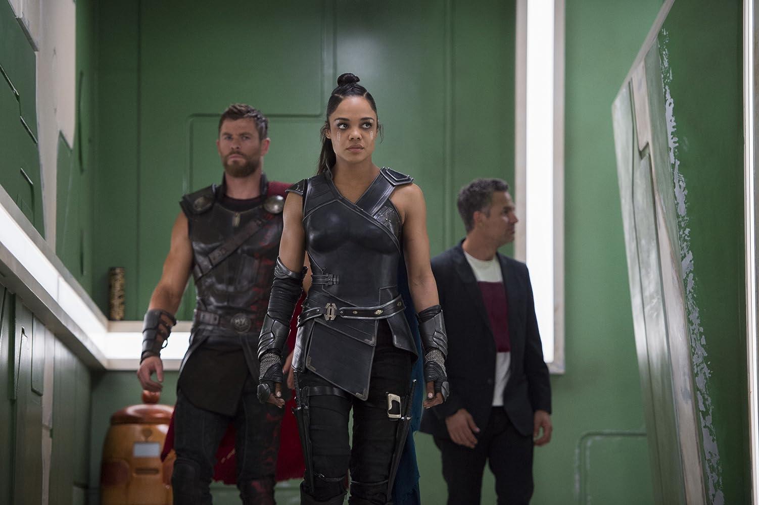Mark Ruffalo, Chris Hemsworth, and Tessa Thompson in Thor: Ragnarok (2017)