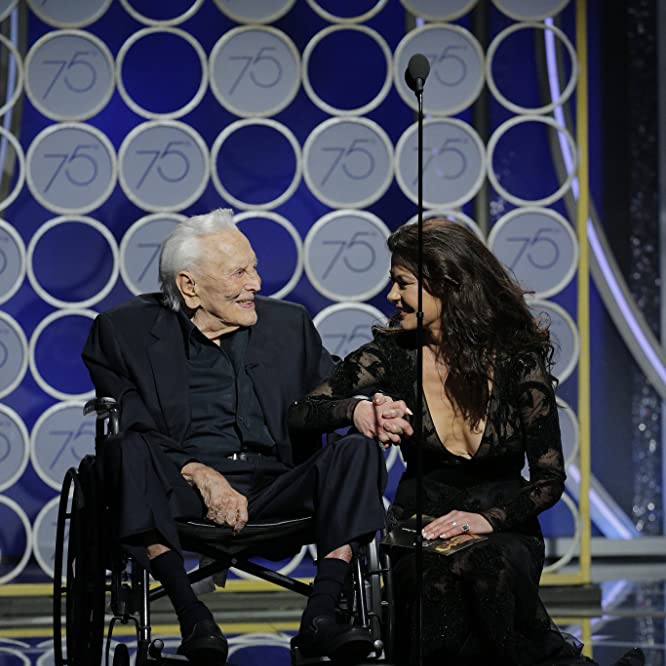 Kirk Douglas and Catherine Zeta-Jones at an event for The 75th Golden Globe Awards (2018)