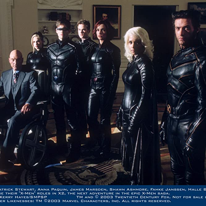 Famke Janssen, Halle Berry, Anna Paquin, Patrick Stewart, James Marsden, Shawn Ashmore, and Hugh Jackman in X-Men 2 (2003)