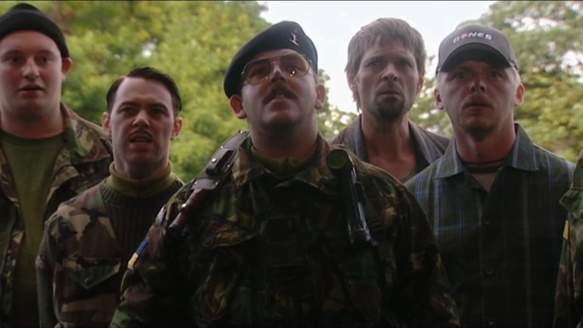 Nick Frost, Mark Heap, Simon Pegg, and Reece Shearsmith in Spaced (1999)