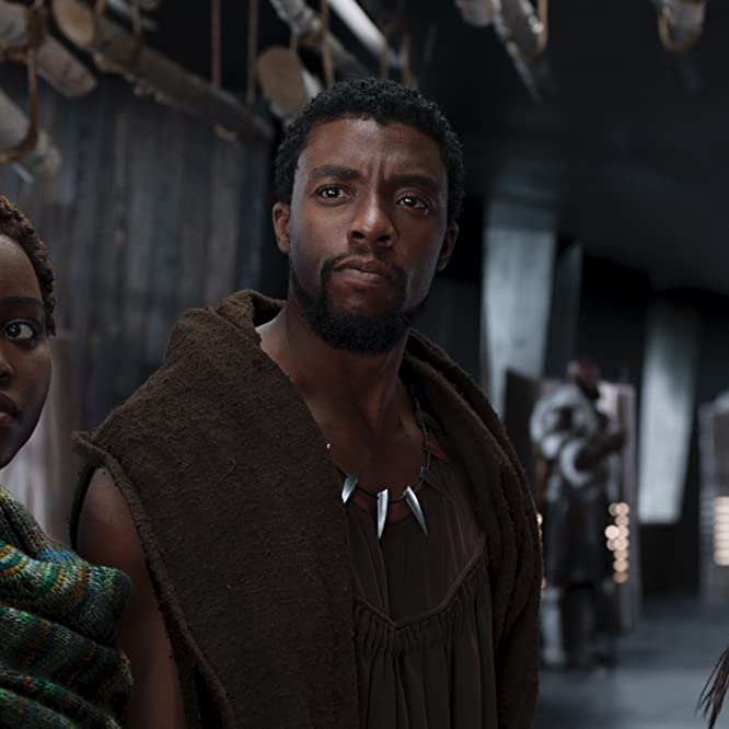 Chadwick Boseman, Lupita Nyong'o, and Letitia Wright in Black Panther (2018)