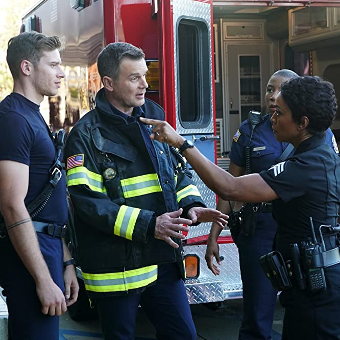Angela Bassett, Peter Krause, Aisha Hinds, and Oliver Stark in 9-1-1 (2018)