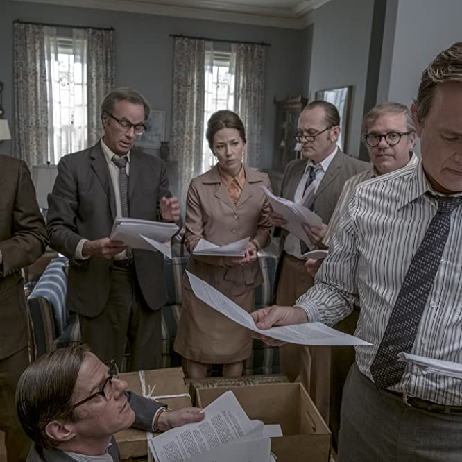 Tom Hanks, Philip Casnoff, David Cross, Pat Healy, Rick Holmes, Bob Odenkirk, and Carrie Coon in The Post (2017)
