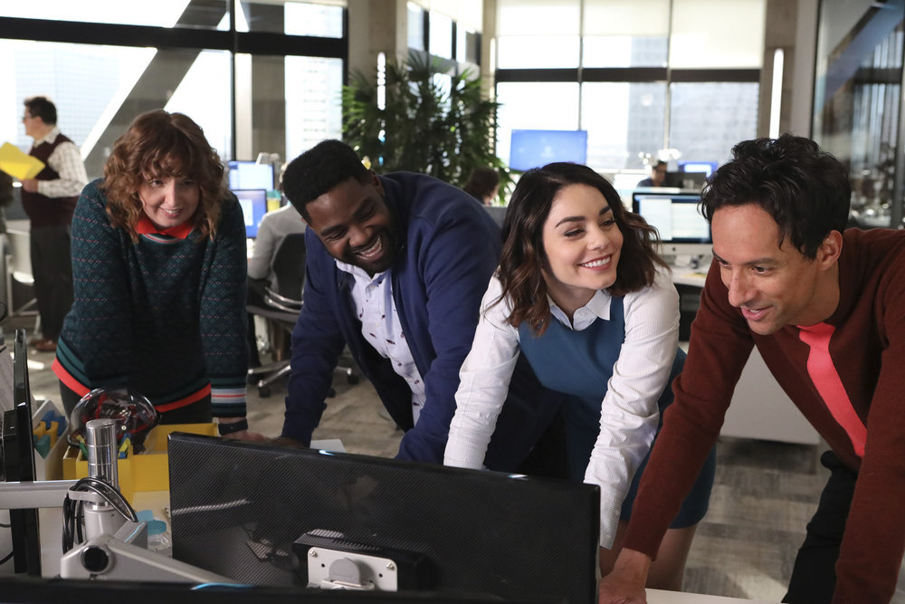 Vanessa Hudgens, Danny Pudi, Ron Funches, and Jennie Pierson in Powerless (2017)