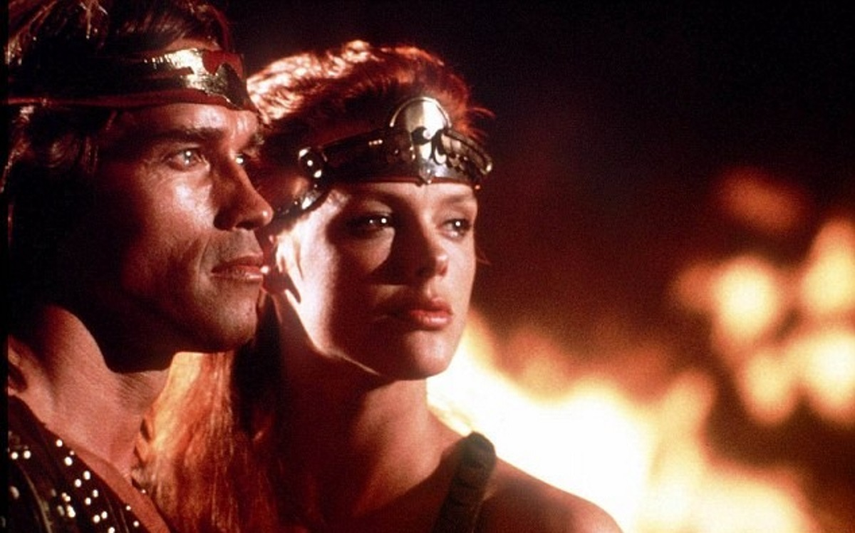 Arnold Schwarzenegger and Brigitte Nielsen in Red Sonja (1985)