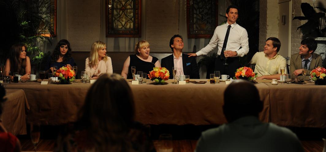 Kirsten Dunst, Adam Scott, James Marsden, Lizzy Caplan, Isla Fisher, Kyle Bornheimer, Hayes MacArthur, and Rebel Wilson in Bachelorette (2012)