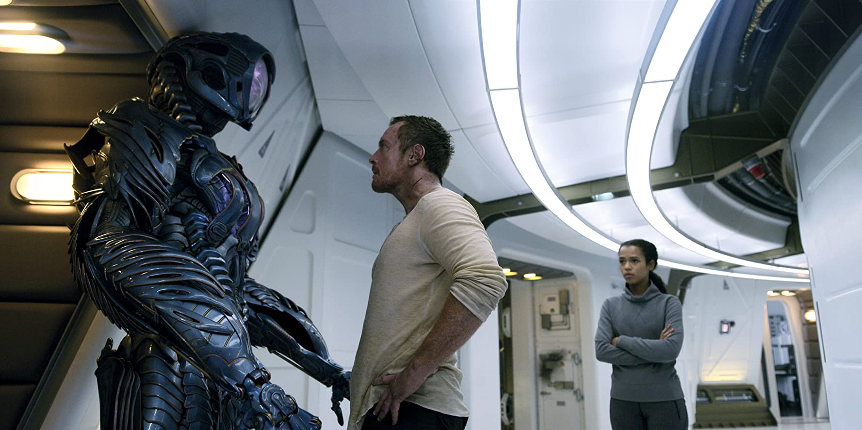 Brian Steele, Toby Stephens, and Taylor Russell in Lost in Space (2018)