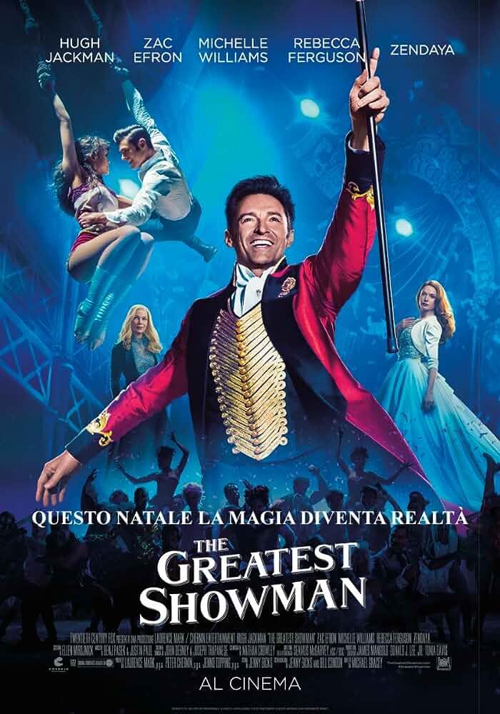 Rebecca Ferguson, Hugh Jackman, Michelle Williams, Zac Efron, and Zendaya in The Greatest Showman (2017)