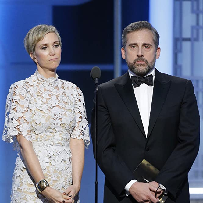 Steve Carell and Kristen Wiig at an event for The 74th Golden Globe Awards (2017)