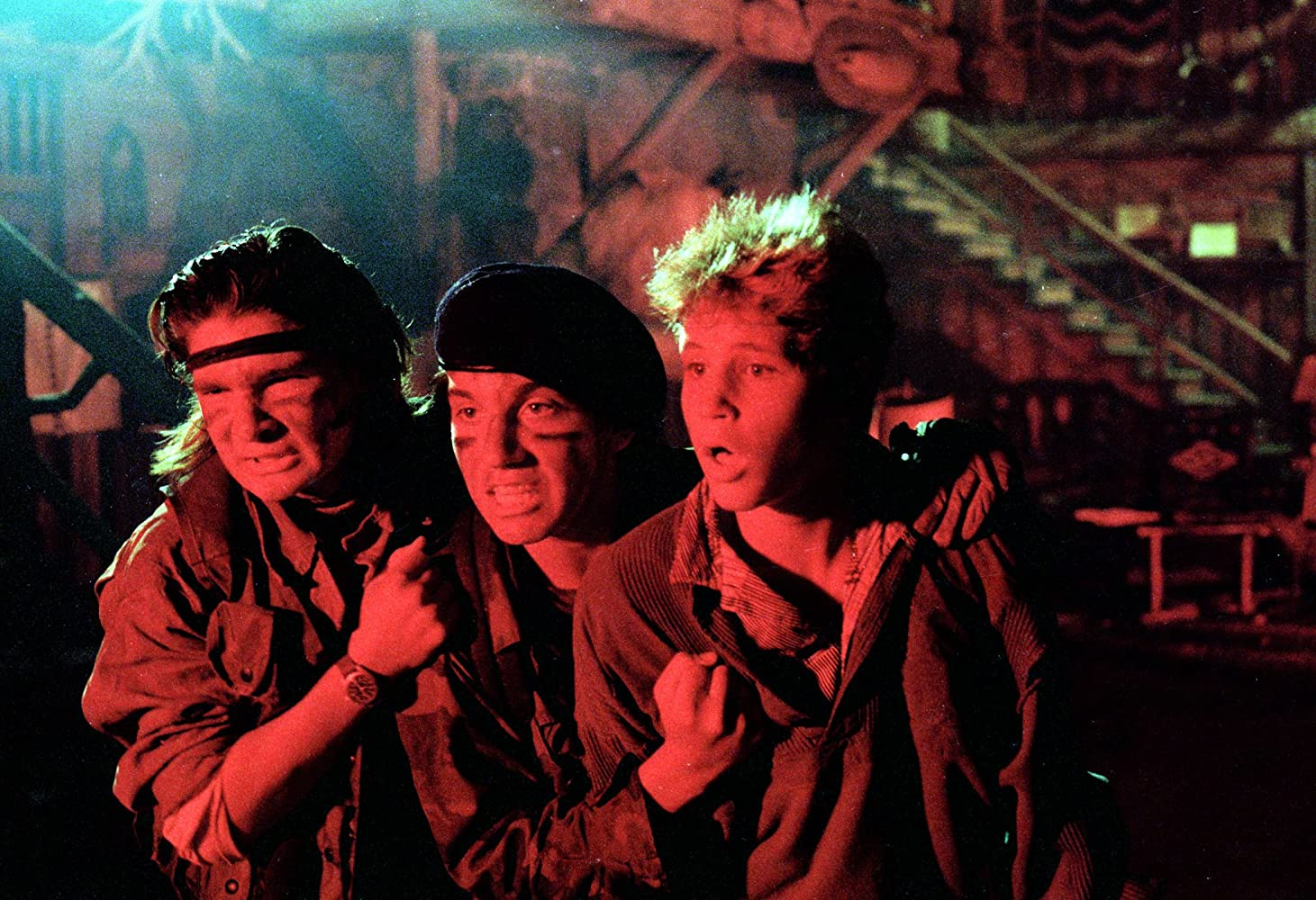 Corey Feldman, Corey Haim, and Jamison Newlander in The Lost Boys (1987)