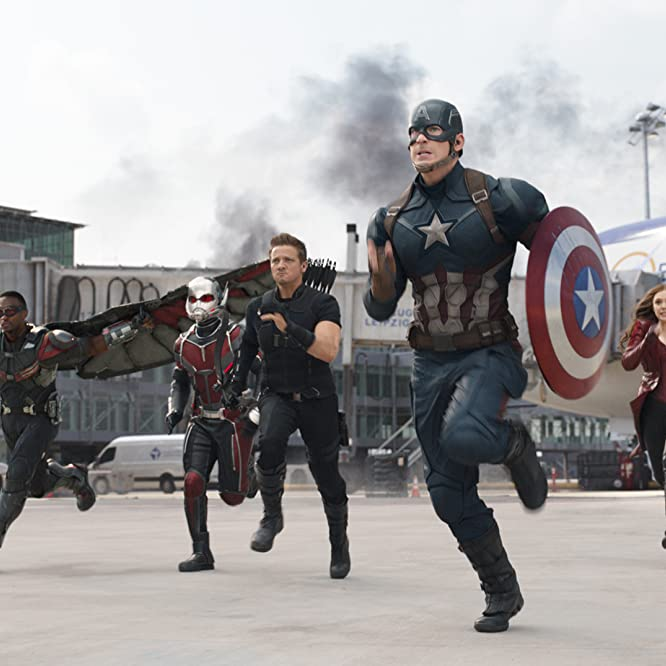 Chris Evans, Elizabeth Olsen, Jeremy Renner, Paul Rudd, Anthony Mackie, and Sebastian Stan in Captain America: Civil War (2016)