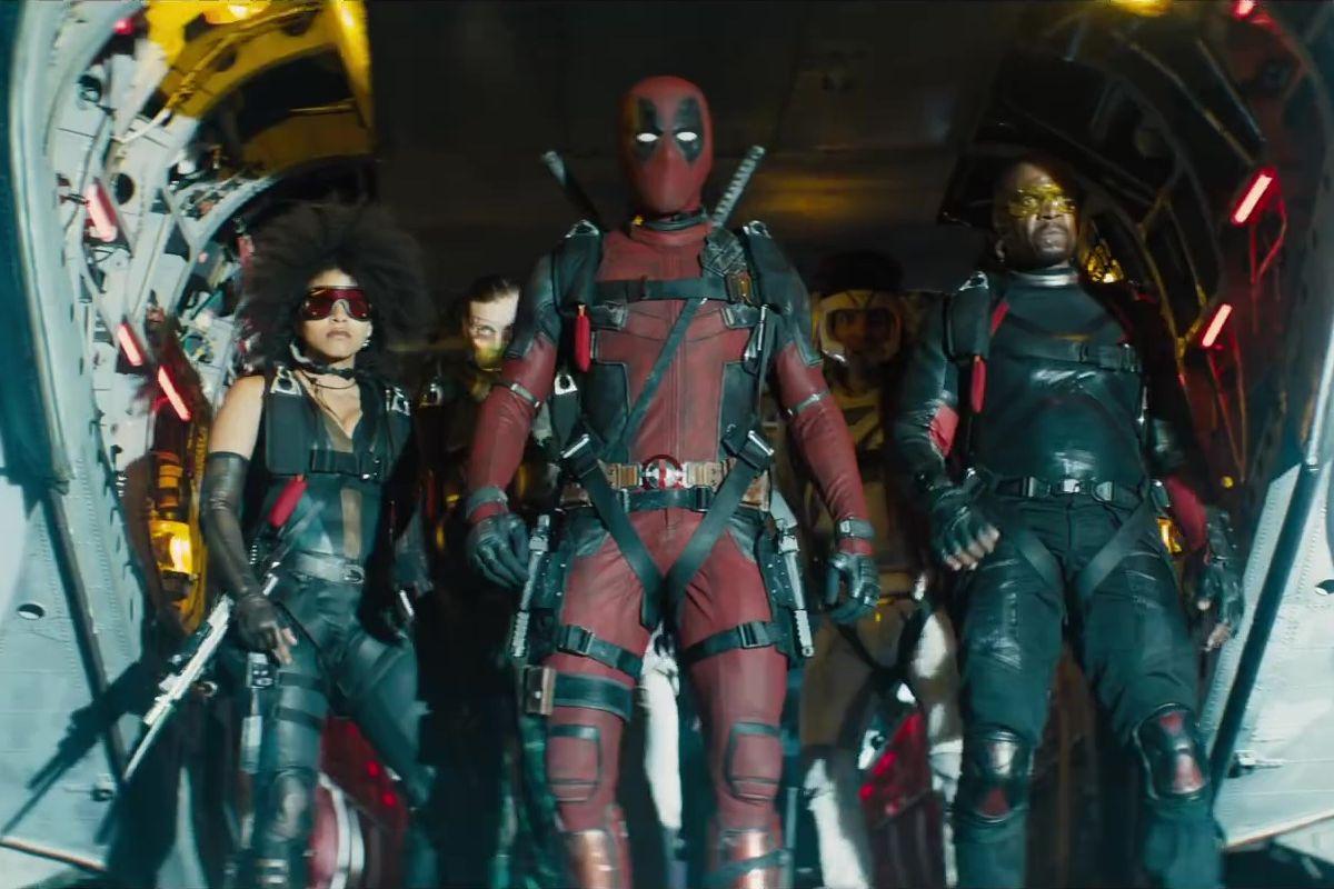 Ryan Reynolds, Terry Crews, Bill Skarsgård, Lewis Tan, and Zazie Beetz in Deadpool 2 (2018)