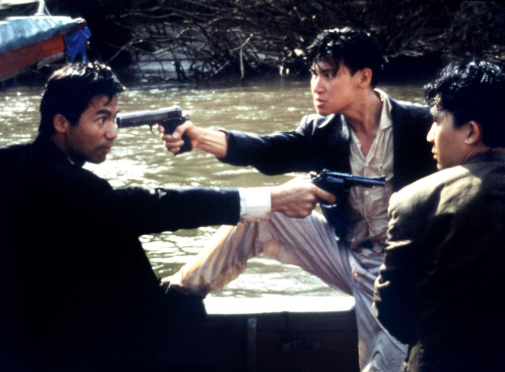 Jacky Cheung, Waise Lee, and Tony Chiu-Wai Leung in Die xue jie tou (1990)