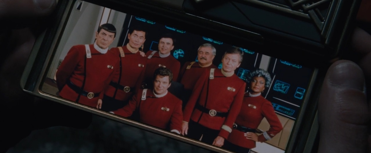Walter Koenig, Leonard Nimoy, William Shatner, James Doohan, DeForest Kelley, George Takei, and Nichelle Nichols in Star Trek: Beyond (2016)