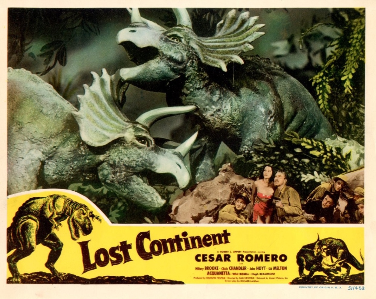 Un poster del film con la lotta fra triceratopi