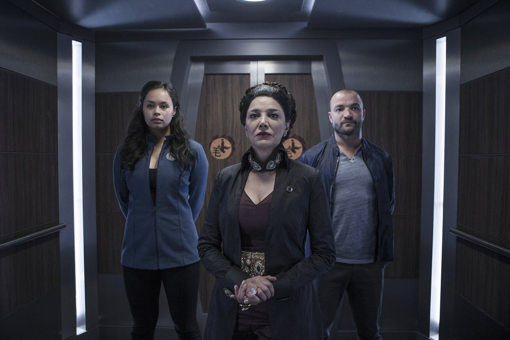 Shohreh Aghdashloo, Nick E. Tarabay, and Frankie Adams in The Expanse (2015)