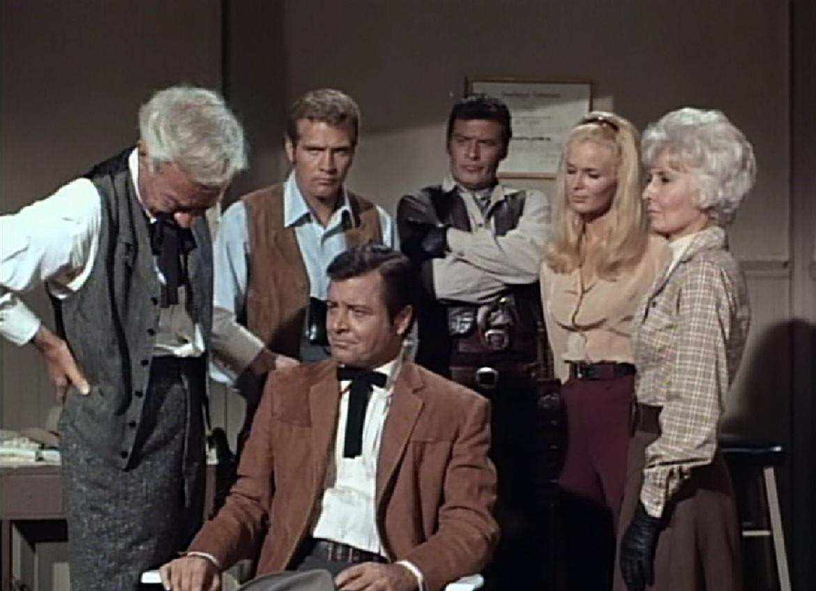 Lee Majors, Barbara Stanwyck, Linda Evans, Peter Breck, and Richard Long in The Big Valley (1965)