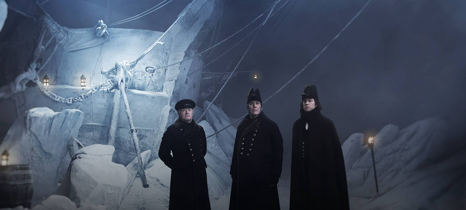 Ciarán Hinds, Jared Harris, and Tobias Menzies in The Terror (2018)