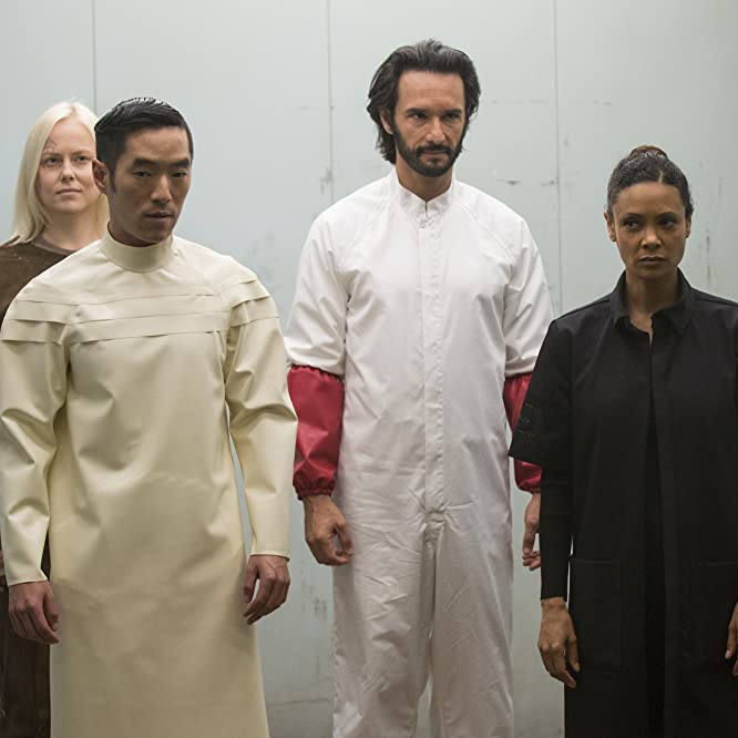 Thandie Newton, Rodrigo Santoro, Leonardo Nam, and Ingrid Bolsø Berdal in Westworld (2016)
