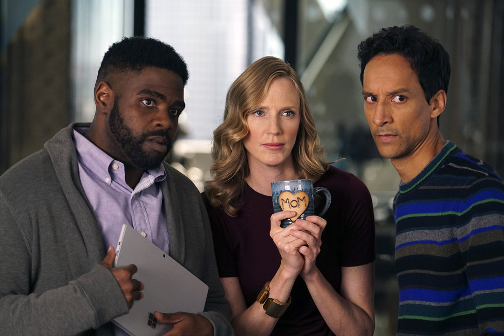 Christina Kirk, Danny Pudi, and Ron Funches in Powerless (2017)