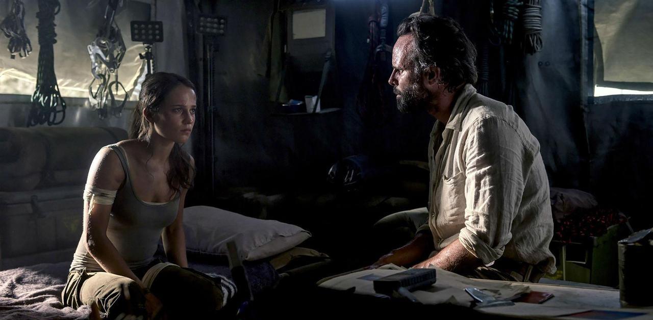Walton Goggins and Alicia Vikander in Tomb Raider (2018)